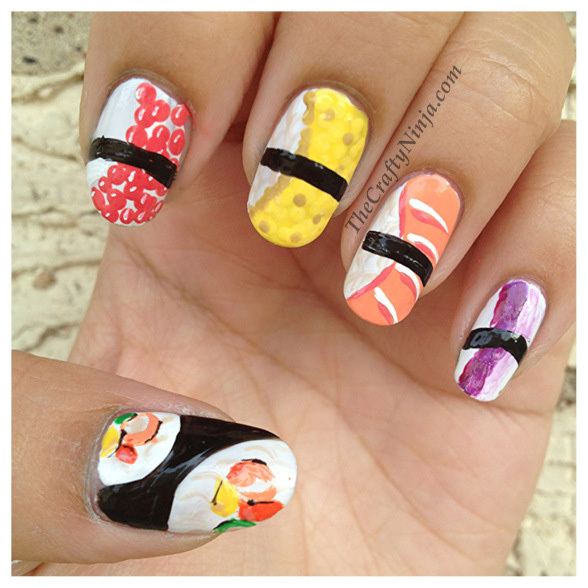 Food Inspired Nail Art: Pizza, Burger, Fried Chicken & Sushi