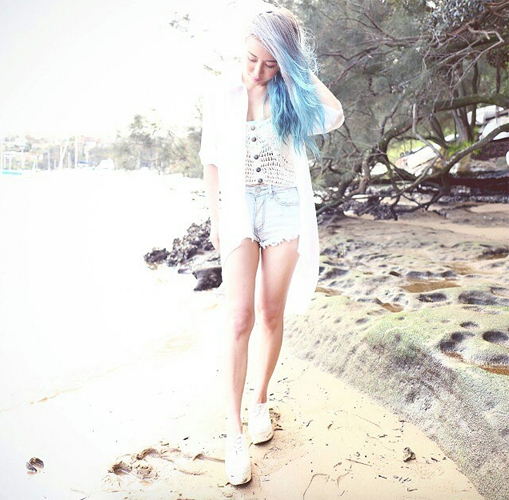 wengie with blue hair on the beach sweety high interview