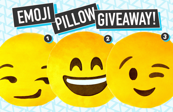 An Emoji Pillow Giveaway featuring three emoji pillows