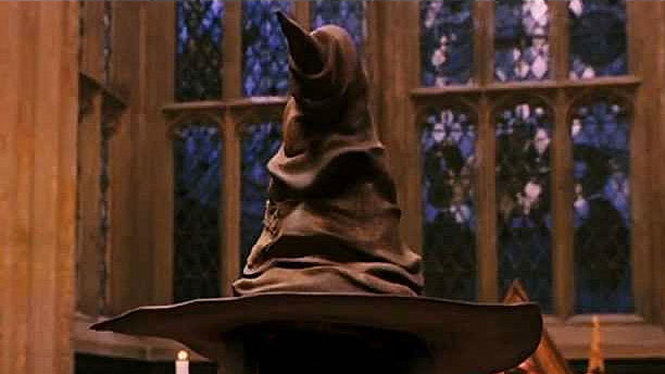 The Sorting Hat from Harry Potter is sitting on display at Hogwarts.
