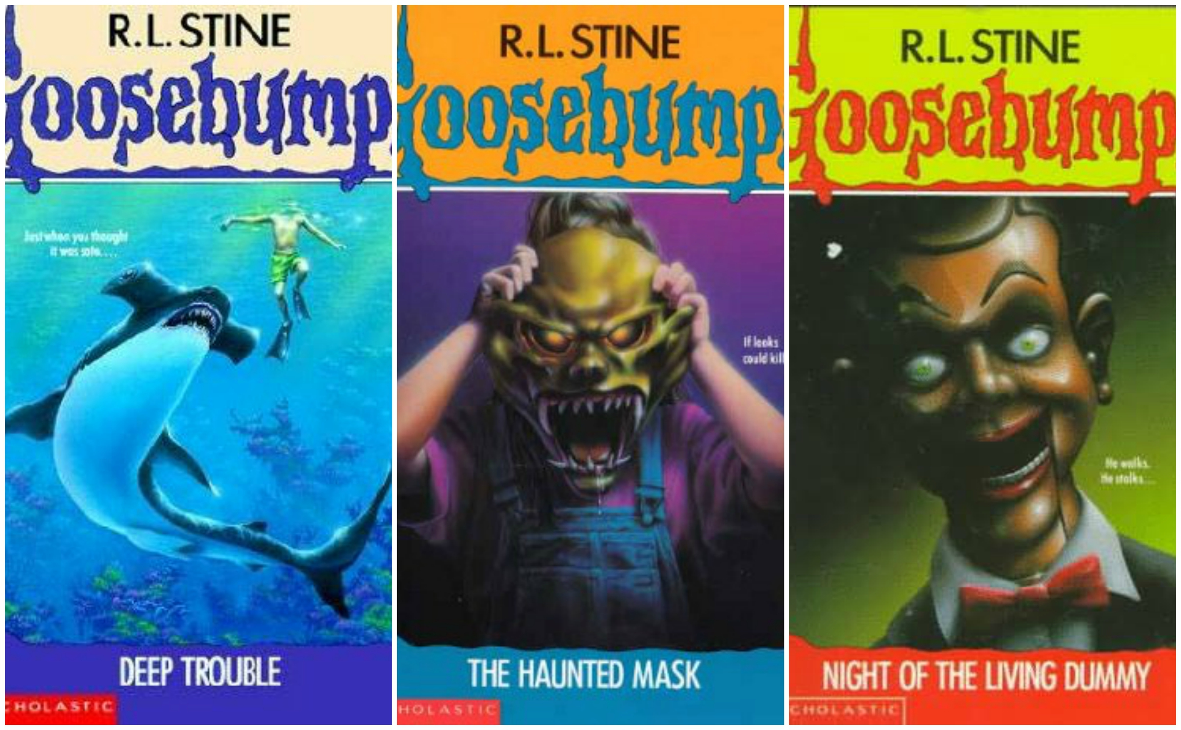 An image of Deep Trouble, The Haunted Mask and Night of the Living Dummy Goosebumps book covers.
