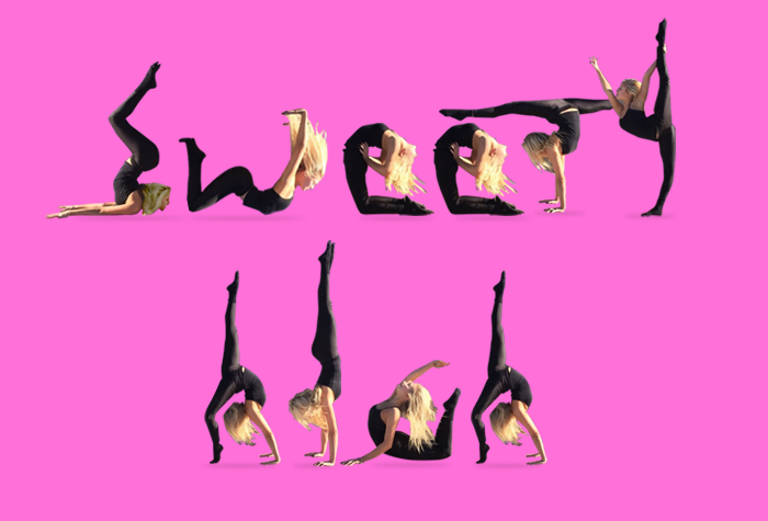 girl spelling out 'Sweety High' with her body