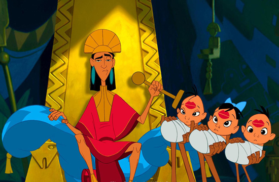 Kuzco from The Emperor's New Groove stamping the foreheads of babies