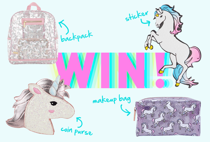 Unicorn Giveaway Blog Image.We're giving away a unicorn backpack, coin purse, makeup bag and giant unicorn sticker