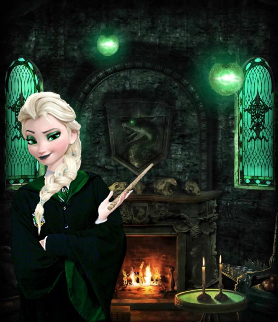 Elsa in the Slytherin wardrobe