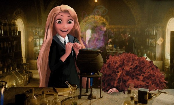 Rapunzel in Ravenclaw robes