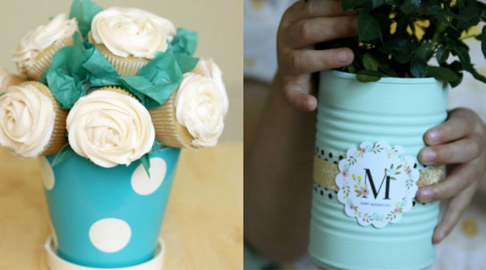 Cupcake bouquet and painted tin for Mother's Day
