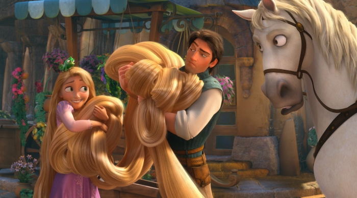 Rapunzel and Flynn Rider from Tangled holding Rapunzel's hair