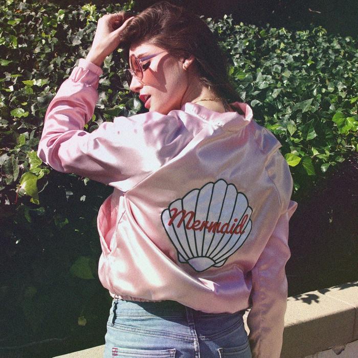 Pink mermaid bomber jacket