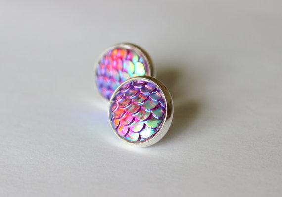 Pink mermaid earrings from etsy