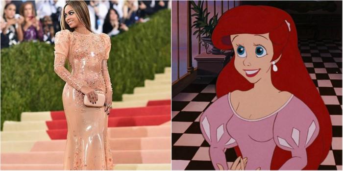 "Beyonce's dress at the Met Gala looked like Ariel's dress in ""The Little Mermaid"""