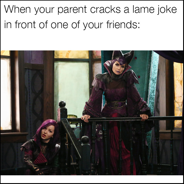 Descendants meme for when your parent tells a lame joke