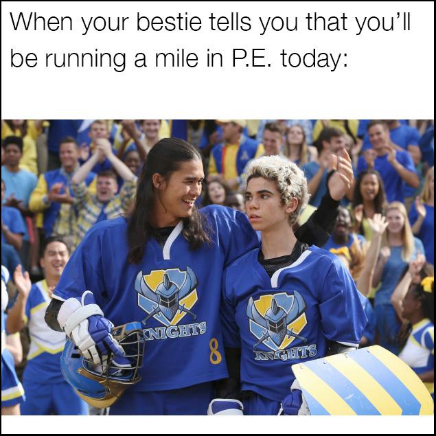 Descendants meme for when you have to run a mile in P.E.