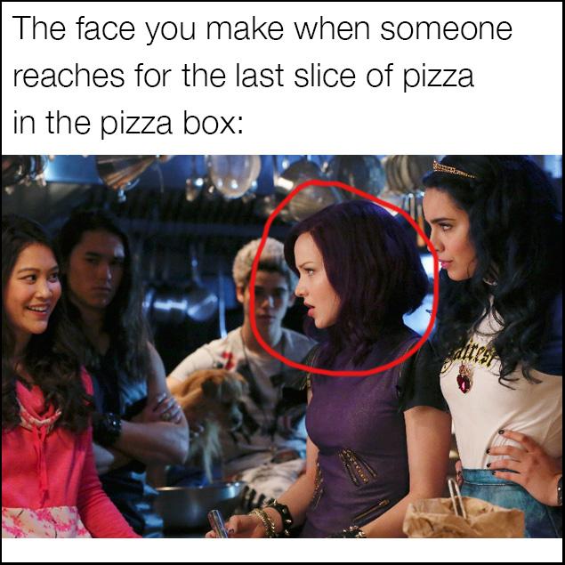 Descendants meme for when someone eats the last slice of pizza