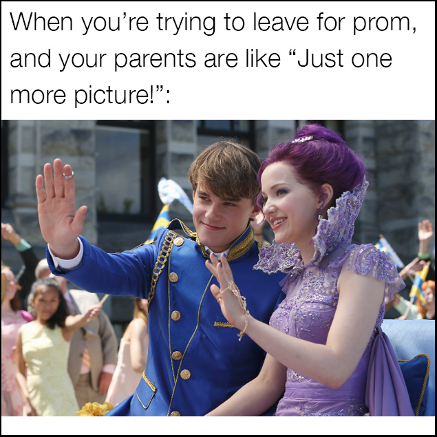 Descendants meme for when parents take pictures of you for from