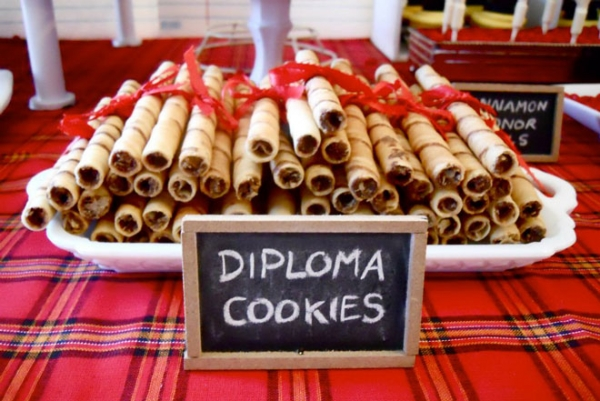 Diploma cookies tied with a red bow