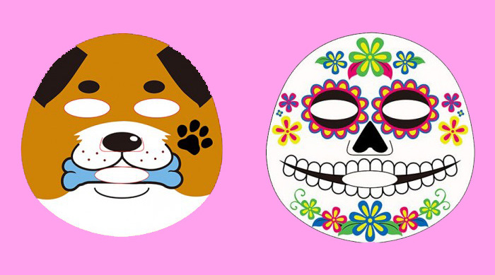 Dog and candy skull face masks