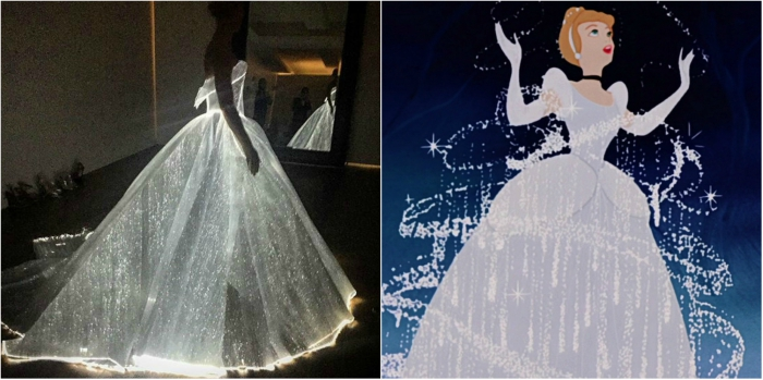 Claire Danes at the Met Gala wearing a dress that resembles Cinderella's