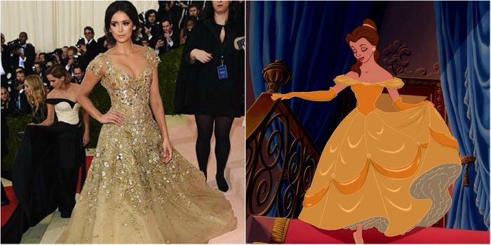 Nina Dobrev's dress at the Met Gala looks like Belle's dress in Beauty and the Beast