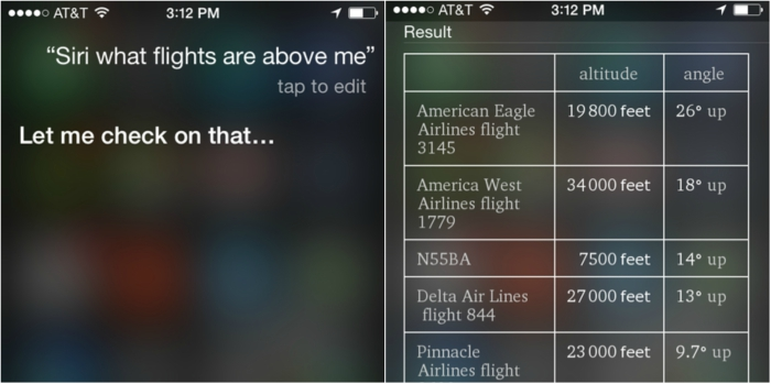 Siri can find airplanes above you