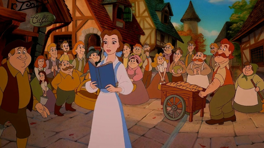 Belle walking in her village in Beauty and the Beast