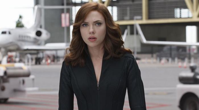 Scarlett Johannson as Black Widow in Captain America: Civil War via Marvel