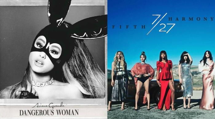 Ariana Grande 'Dangerous Woman' album artwork and Fifth Harmony '7/27' album artwork