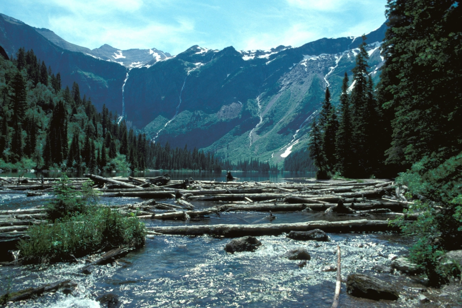 Glacier National Park river and mountains from National Park Services