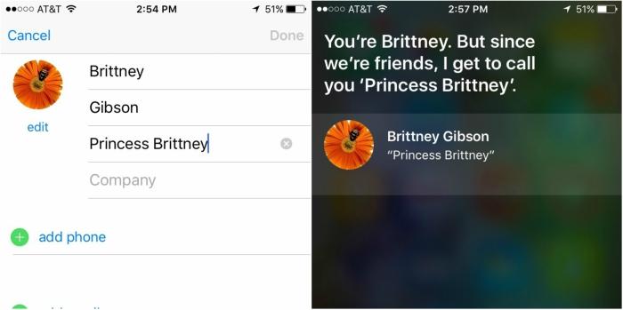 Siri on iPhone calling me Princess Brittney