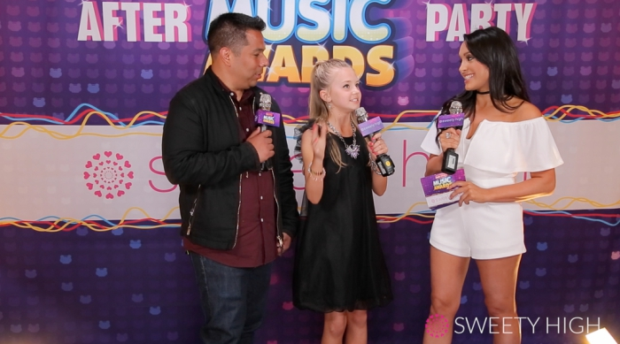 Tegan Marie, Radio Disney's Ernie D and Sweety High's Alex Schiffman at the Radio Disney Music Awards Pre-Show Party