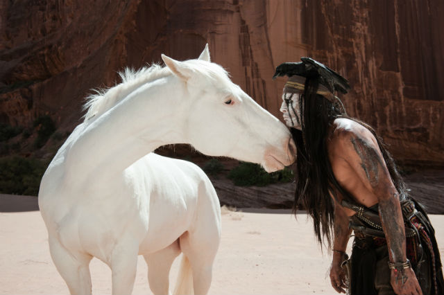 Silver with Tonto in the 2013 movie The Lone Ranger