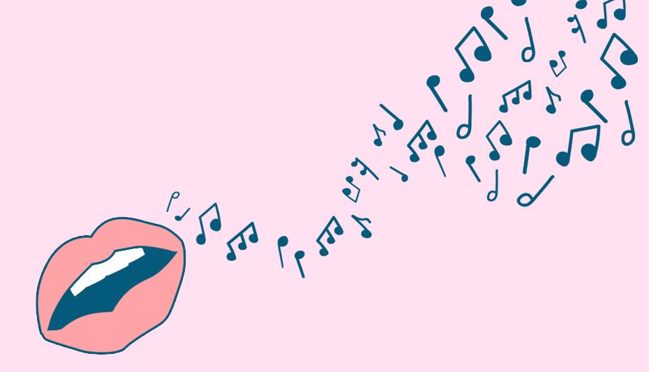 Lips singing musical notes
