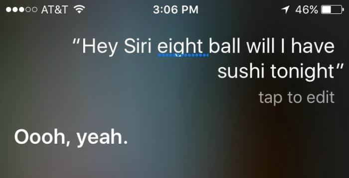 Asking Siri an eight ball question