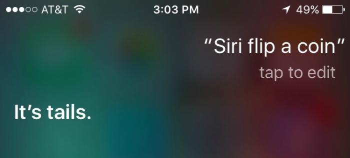 Asking Siri to flip a coin