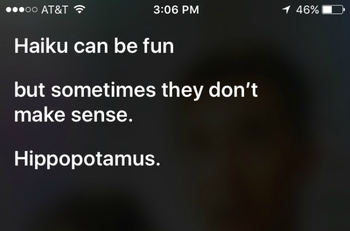Siri reading a haiku