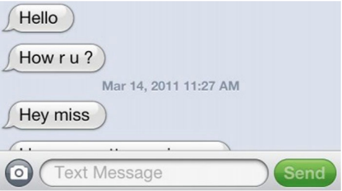 Texting conversation on an iPhone