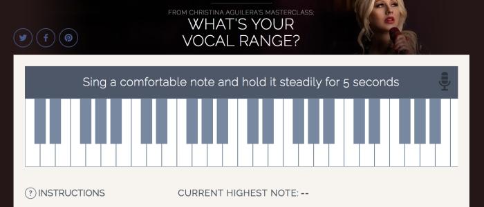 Vocal range finder on Christina Aguilera's Master Class