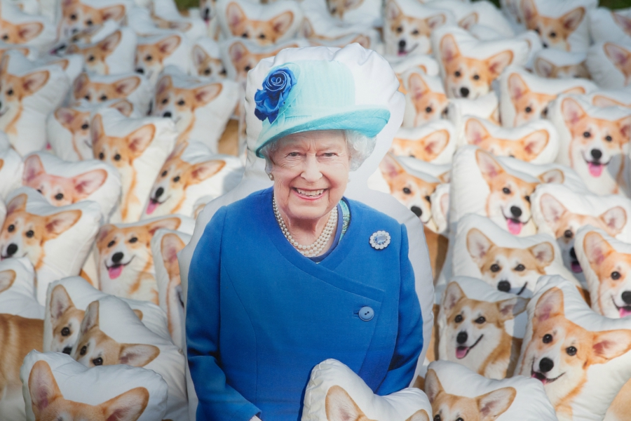 Queen Elizabeth II and corgi pillows from Spoonflower
