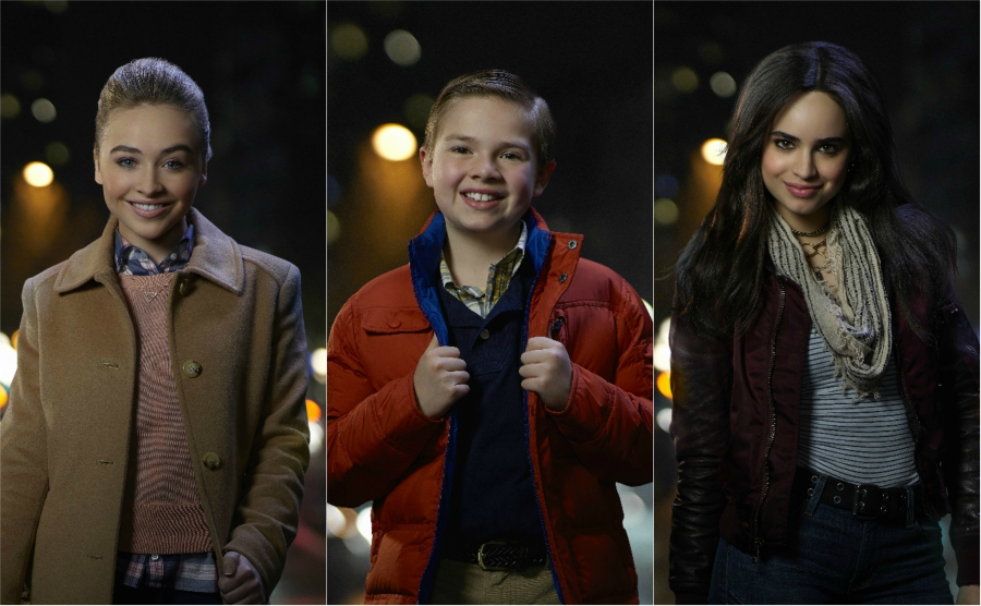"Sabrina Carpenter Jet Jurgensmeyer and Sofia Carson shots from ""Adventures in Babysitting"""