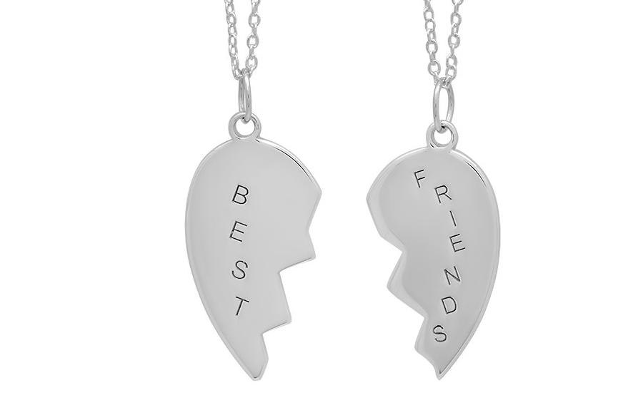 Best Friends broken heart Necklace