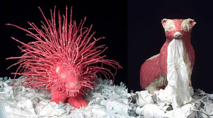 Bubble gum sculptures of porcupine and badger