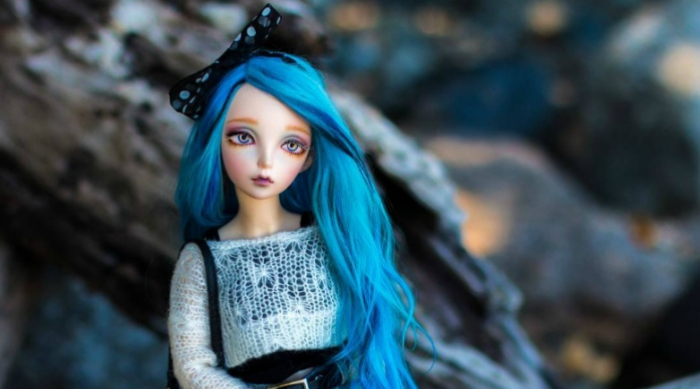 Cool Barbie-like doll with blue hair