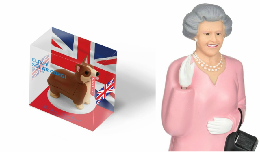 Queen Elizabeth II and her corgi bobbleheads