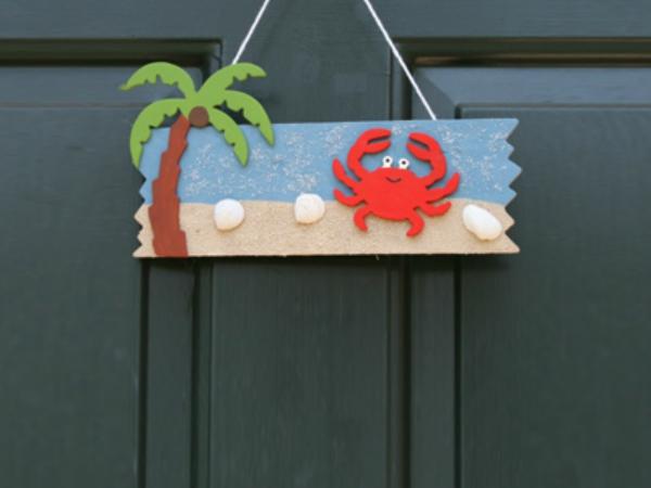 Beach door hanger sign