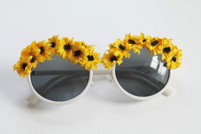 DIY sunflower sunglasses