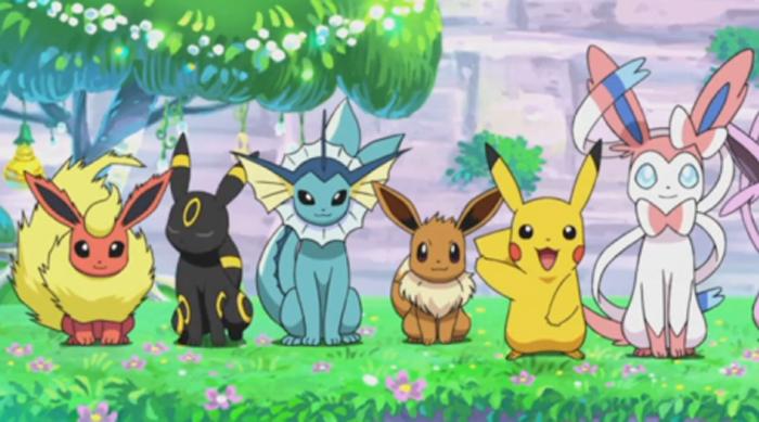 Eevee, Pikachu, Flareon, Umbreon, Vaporeon