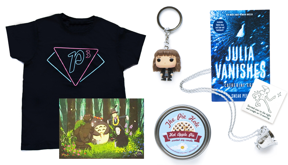 FanMail Subscription box with Charmed shirt, Hermione keychain and Miyazaki print