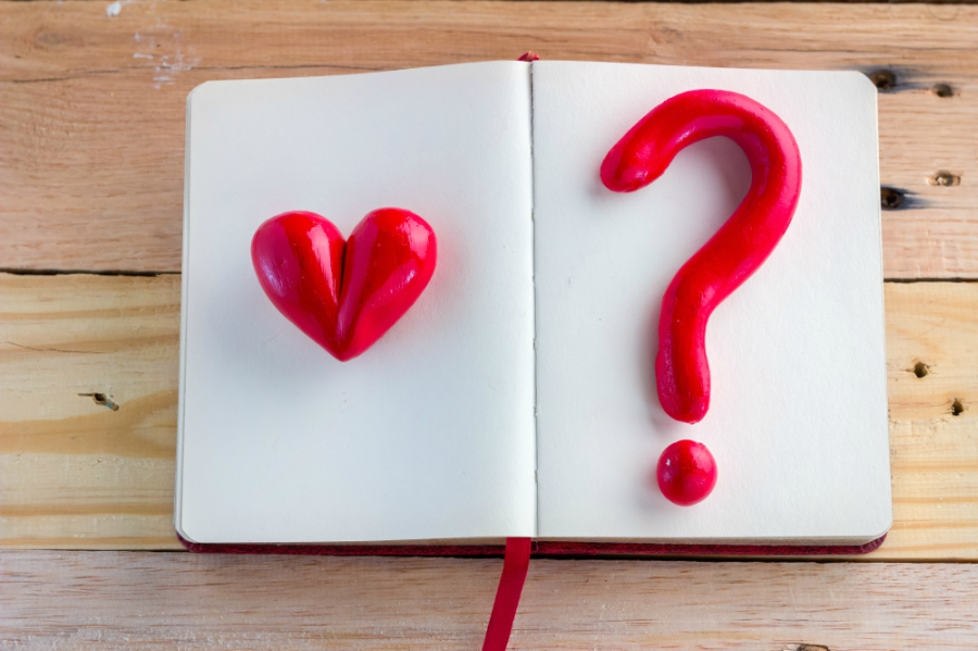 Book with a heart and a question mark
