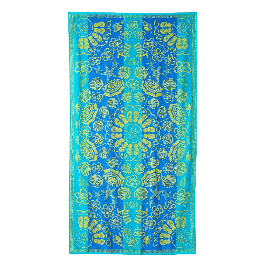 Blue and yellow beach towel with a fun summer print