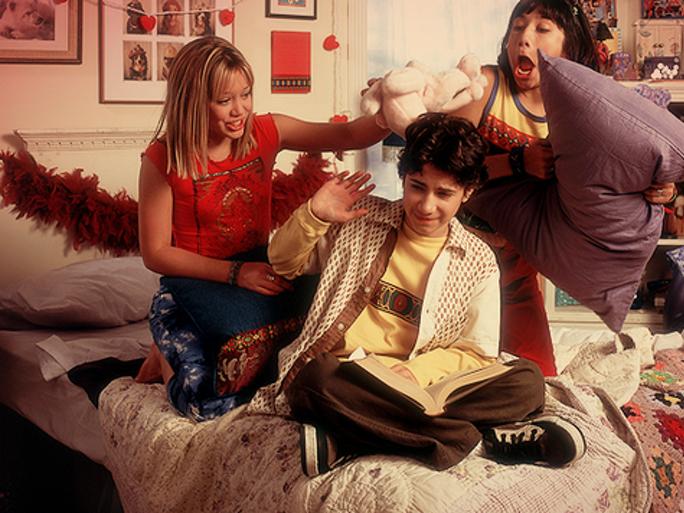 Gordo, Lizzie and Miranda having a pillow fight